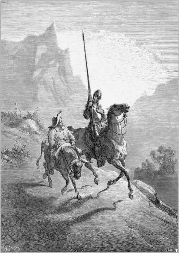 Dore, Gustave: Don Quixote and Sancho Setting Out. Fine Art Print/Poster. Sizes: A4/A3/A2/A1 (001224)